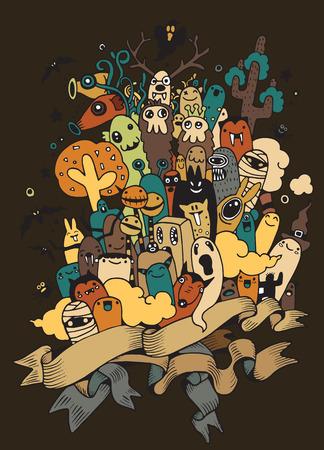set of hand drawn Mad ugly monster. Halloween poster.monster doodle,Vector illustration