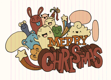 Hand drawing cartoon character,Merry christmas .Doodles vector illustration.