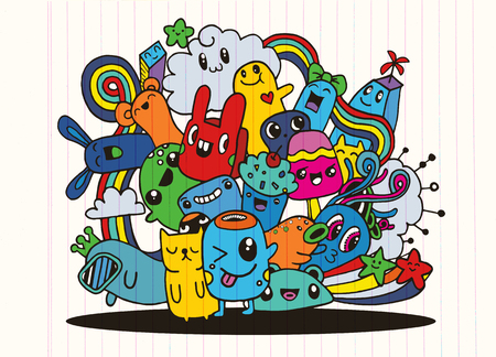 Hipster Hand drawn Crazy doodle Monster group,drawing style.Vector illustration