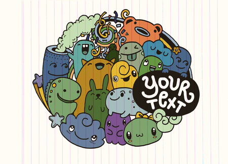 Hipster Hand drawn happy doodle Monster City,drawing style.Vector illustration Illustration