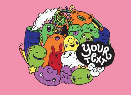 Hipster Hand getrokken happy doodle Monster City, tekening style.Vector illustratie