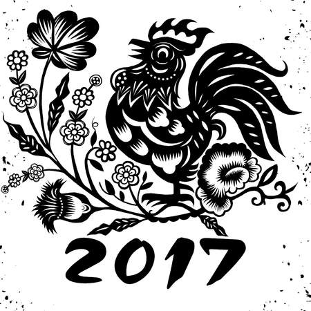 Hand Drawn Vector Illustration of Zodiac Sign for Year of Rooster ,Chinese traditional design Ilustracja
