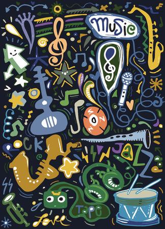 抽象的な音楽の背景、楽器のコラージュ。ベクトル図図面落書きを手します。
