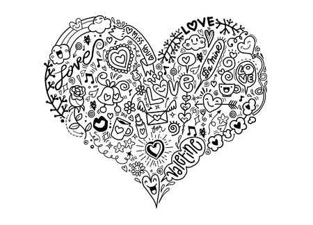 sketchy love and hearts doodles, vector illustration,Valentines concept