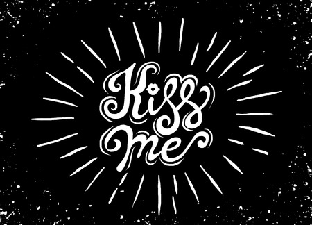 Kiss me. Hand lettering vintage quote  with starburst. Modern Calligraphy. Perfect for invitations, greeting cards, quotes, blogs, posters and more. Vector Illustration