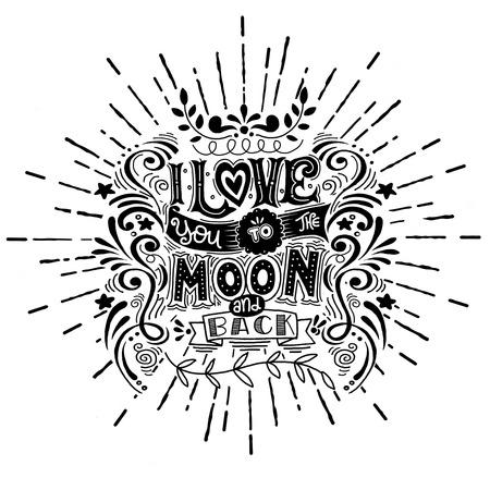 prin: Te Amo Para El cartel de la luna ya la parte posterior .Hand dibujado con una cita romántica. - Rayos de sol románticas del vector typography.with en estilo de la vendimia para el día de San Valentín tarjetas de felicitación de impresión, esta ilustración se pueden utilizar para el día de San Valentín o la tarjeta de fecha o como un prin