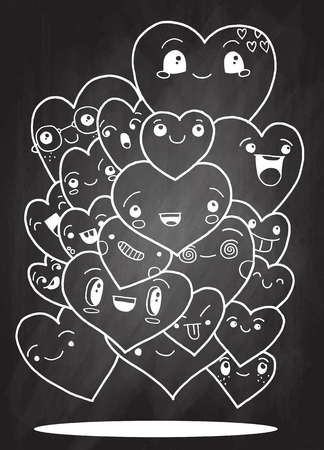 crowd happy people: Crowd of funny heart, doodle background for your design Illustration