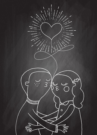 hand holding playing card: Doodle lovers, a boy and a girl under heart with sunbursts in vintage style for Valentines day greeting print,sketch on chalk board. Illustration