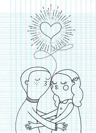 adolescent: Doodle lovers, a boy and a girl under heart with sunbursts in vintage style for Valentines day