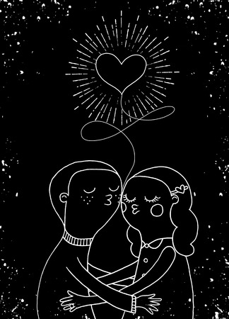 hand holding playing card: Doodle lovers, a boy and a girl under heart with sunbursts in vintage style for Valentines day greeting print Illustration