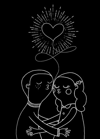 Doodle lovers, a boy and a girl under heart with sunbursts in vintage style for Valentines day greeting print Illustration