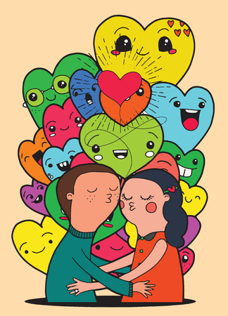 crowd happy people: Doodle lovers, a boy and a girl composition with .Crowd of funny heart, doodle background for your design , in doodle style