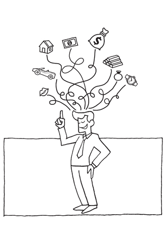 Vector illustration of Doodle successful business man Thinking about house, car, watch, money , gold bar. Saving and investing money. Future financial planning concept
