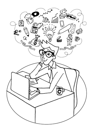 Vector illustration of Doodle Young business man sitting at office looking up and planning. Graphic sketch style thoughts overhead Illustration