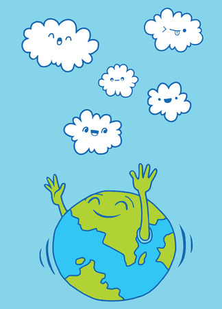 Hand Drawn Vector Illustration of Doodle world and cloud , illustrator line tools drawing,Flat Design Illustration
