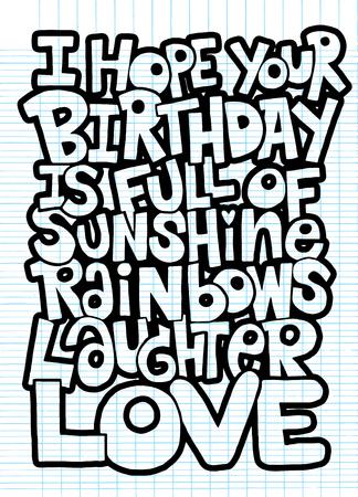 落書きのベクトル イラスト、お得がいっぱいを願って、愛の手書きレタリング。誕生日グリーティング カード。