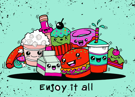 Hand drawing cute Fast Food in comic ,Flat Design Vector illustration. doodle style