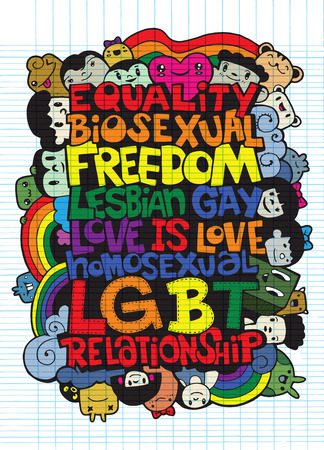 Hand drawing names of LGBT ,Flat Design Vector illustration. doodle style Illustration