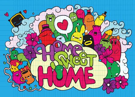 Home sweet Home, Hipster Hand getrokken Crazy doodle Monster City, tekening stijl. Vectorillustratie, familie concept.