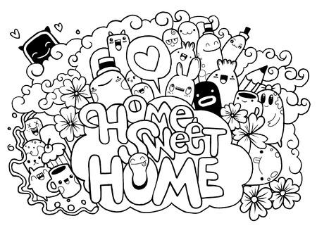 Home sweet Home, Hipster Hand getrokken Crazy doodle Monster City, tekening stijl. Vectorillustratie, familie concept Stock Illustratie