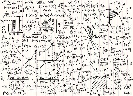 Math patrón de educación vectorial con fórmulas escritas a mano, tareas, gráficos, cálculos y figuras geométricas.vector ilustración Ilustración de vector