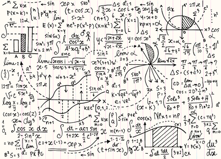 modèle mathématique éducation vectoriel avec des formules écrites à la main, des tâches, des parcelles, des calculs et figures.vector géométrique illustration Vecteurs