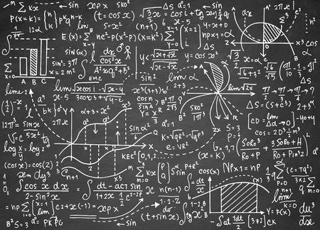 plot: Math education vector pattern with handwritten formulas, tasks, plots, calculations and geometrical figures.vector illustration Illustration