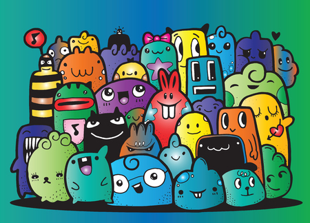 crowd happy people: Hipster Hand drawn Crazy doodle Monster group,drawing style.Vector illustration