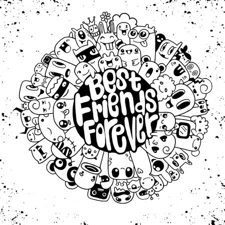 Hipster Hand drawn fou doodle Monstre City, dessin style.Vector illustration Banque d'images - 74739251