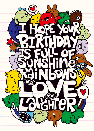 落書きのベクトル イラスト、お得がいっぱいを願って、愛の手書きレタリング。誕生日グリーティング カード。あなたのデザインのモンスターの落書き