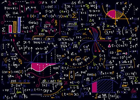 Math onderwijs vector patroon met handgeschreven formules, taken, percelen, berekeningen en geometrische figures.vector illustratie