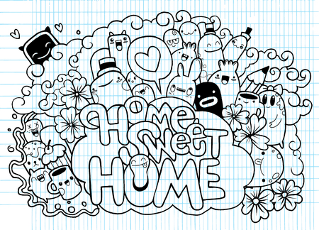 stuff toys: Home sweet Home ,Hipster Hand drawn Crazy doodle Monster City,drawing style.Vector illustration,Family concept