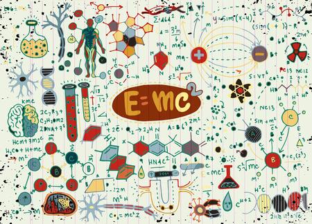 Ilustracja wektorowa wzorów naukowych i obliczeń w fizyce i matematyce. Ilustracje wektorowe