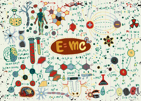 Vector Illustration von wissenschaftlichen Formeln und von Berechnungen in der Physik und in der Mathematik. Vektorgrafik