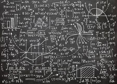 Patrón de vector de educación matemática con fórmulas manuscritas, tareas, tramas, cálculos y figuras geométricas. Ilustración vectorial