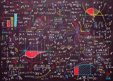 Math patrón de educación vectorial con fórmulas escritas a mano, tareas, gráficos, cálculos y figuras geométricas.vector ilustración