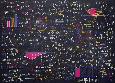 modèle mathématique éducation vectoriel avec des formules écrites à la main, des tâches, des parcelles, des calculs et figures.vector géométrique illustration