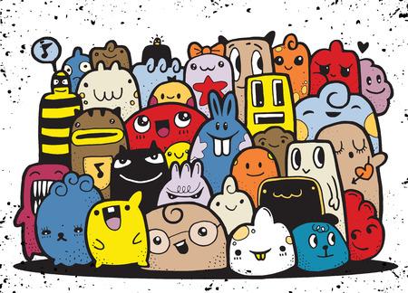 Hipster Hand drawn fou groupe doodle Monster, dessin style.Vector illustration Banque d'images - 74965825