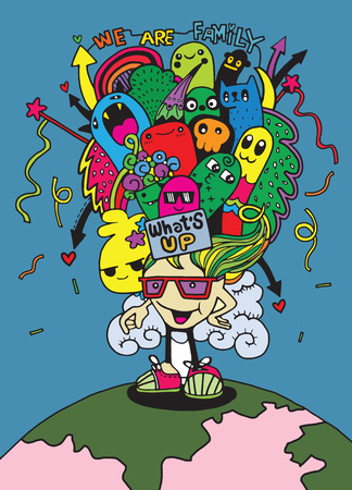 Crazy doodle Monster family drawing style.Vector illustration,family concept