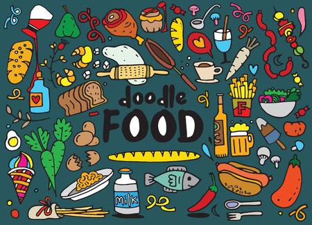 food: Food and drink  doodles elements sketch background. Vector illustration Illustration