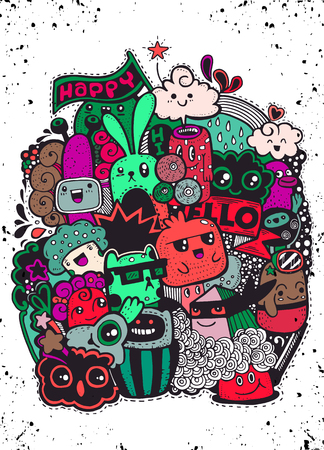 Hipster Hand drawn happy doodle Monster group drawing style.Vector illustration