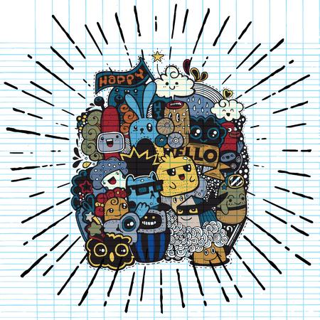 Hipster dessinés à la main doodle heureux Monster groupe dessin style.Vector illustration.with sunbursts dans le style vintage Banque d'images - 76189792