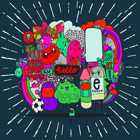 Hipster Hand drawn Crazy doodle Monster group drawing style.Vector illustration,back to school concept Illustration