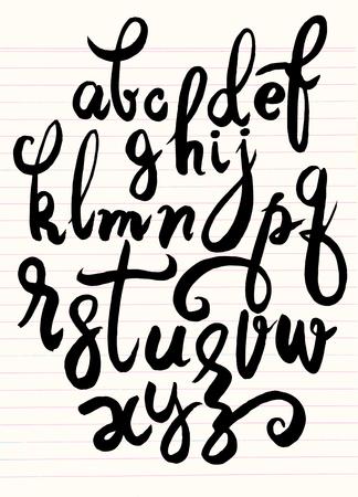 벡터 알파벳입니다. 손 편지를 그려. 붓으로 쓰여진 알파벳의 편지입니다.