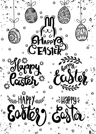 Hand written Easter phrases .Greeting card text templates with Easter eggs isolated, Happy easter lettering modern calligraphy style.