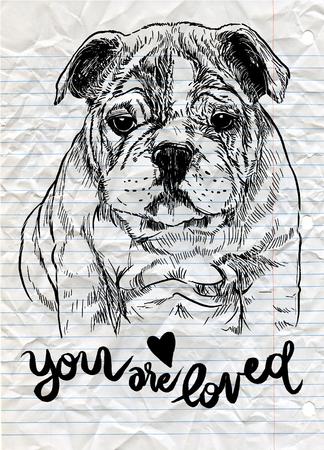 벡터 일러스트 레이 션의 손으로 그려진 된 귀여운 강아지, 스케치의 강아지에 의해 그려진 스톡 콘텐츠 - 77389241