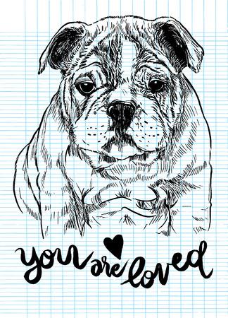 벡터 일러스트 레이 션의 손으로 그려진 된 귀여운 강아지, 스케치의 강아지에 의해 그려진 스톡 콘텐츠 - 77437414