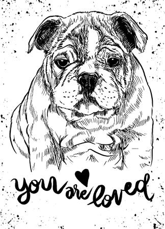 벡터 일러스트 레이 션의 손으로 그린 귀여운 강아지. 개로 스케치 펜으로 스톡 콘텐츠 - 77437418