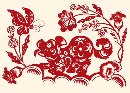 Traditional red paper cut out of Chinese dog zodiac sign.Vector illustration