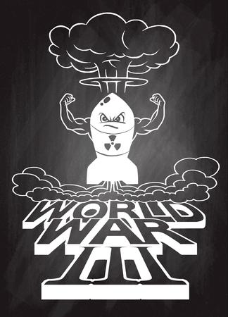 La bombe atomique de dessin animé et les champignons atomiques s'assombrissent, Dessin. Illustration vectorielle, Guerre mondiale Banque d'images - 78136974